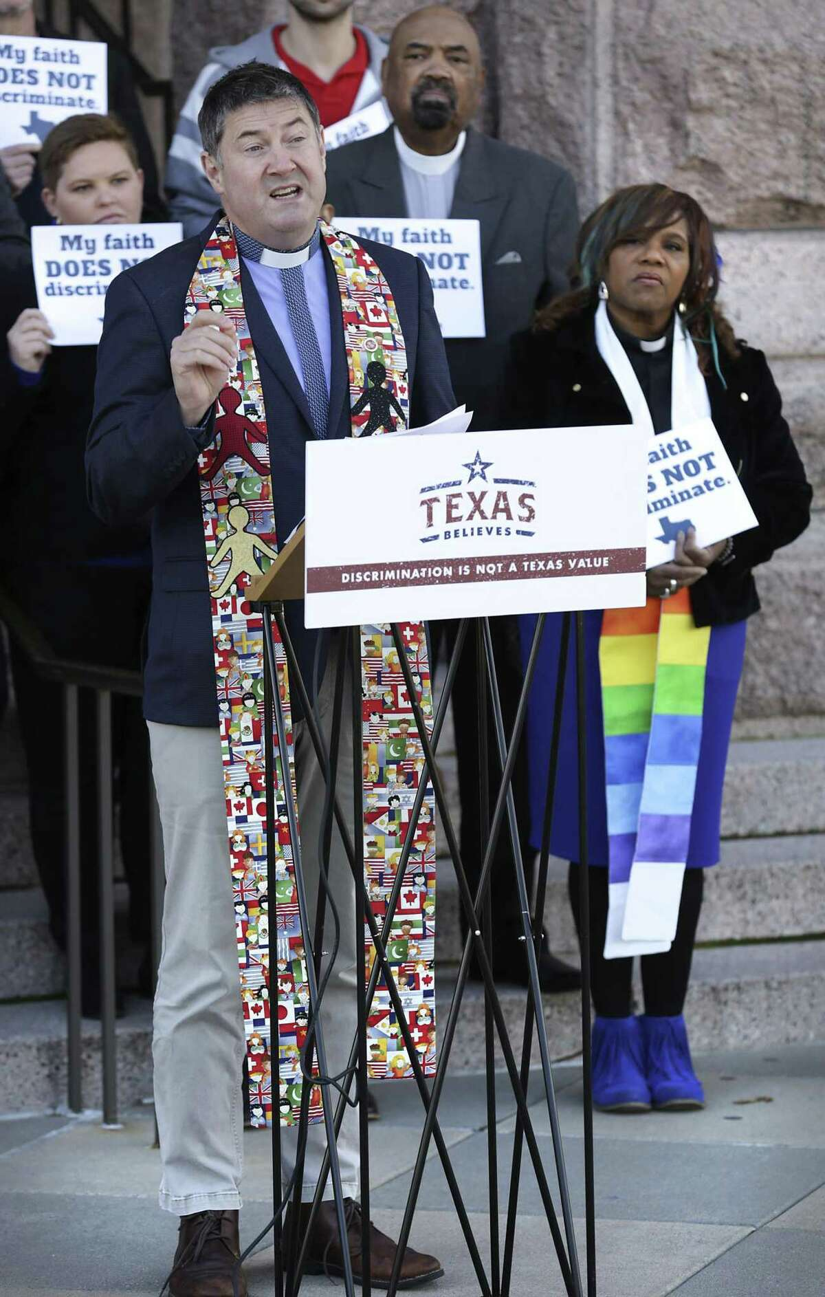 Rev. Andries Coetzee of University Presbyterian Church in San Antonio speaks as faith leaders from Austin, San Antonio, and Dallas gather to speak against the growing efforts to turn religion into a license to discriminate, and calling for laws that treat everyone including LGBTQ Texans, with equality, fairness and respect, at the State Capitol in Austin, TX, on Wednesday, Feb. 20, 2019.