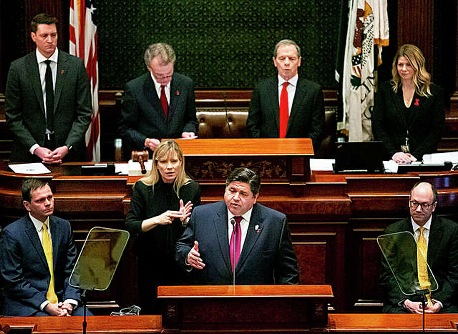 Gov. J.B. Pritzker delivers his budget address to a joint session of the General Assembly Wednesday, Feb. 20, 2019, at the Capitol in Springfield, Ill. Photo: Rich Saal | The State Journal-Register Via AP