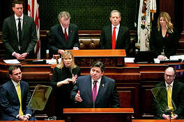Gov. J.B. Pritzker delivers his budget address to a joint session of the General Assembly Wednesday, Feb. 20, 2019, at the Capitol in Springfield, Ill.