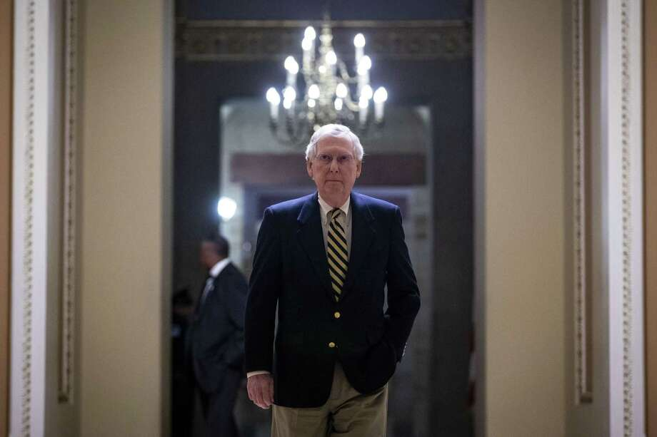 Senate Majority Leader Mitch McConnell (R-Ky.), has reacted to the president's declaration of a national emergency to fund a border wall with support for the declaration though it usurps Congress' power of the purse. Photo: AL DRAGO /NYT / NYTNS