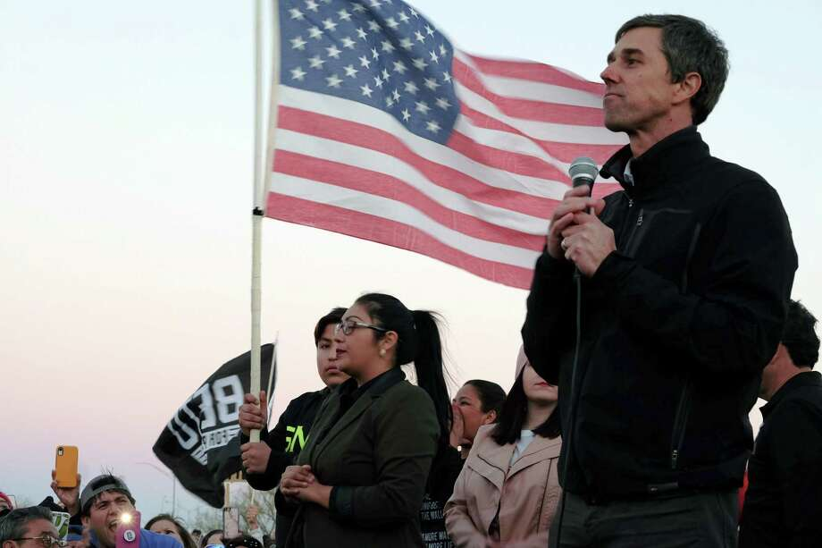 Beto O'Rourke, the former Democratic congressman who is now considering a presidential run in 2020, speaks at a protest rally as President Donald Trump visits El Paso, Texas, on Feb. 11. He gets good marks for showmanship, but little for genius. Photo: JESSICA LUTZ /NYT / NYTNS