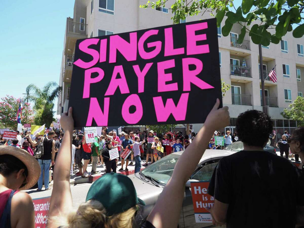 People rally in favor of single-payer healthcare June 27, 2017 in South Gate, California. (Robyn beck/AFP/Getty Images)