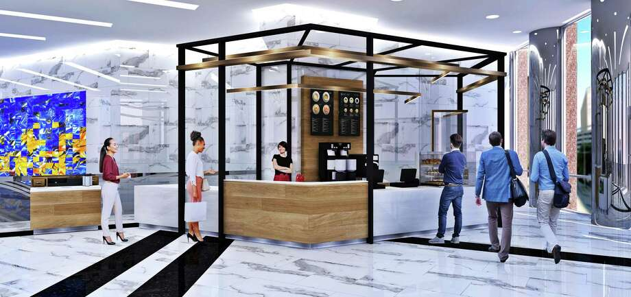 The renovation of 1415 Louisiana includes a coffee bar in the lobby. Photo: Colvill Office Properties