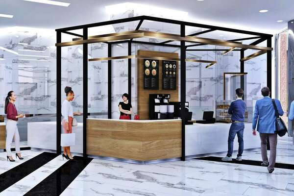 The renovation of 1415 Louisiana includes a coffee bar in the lobby.
