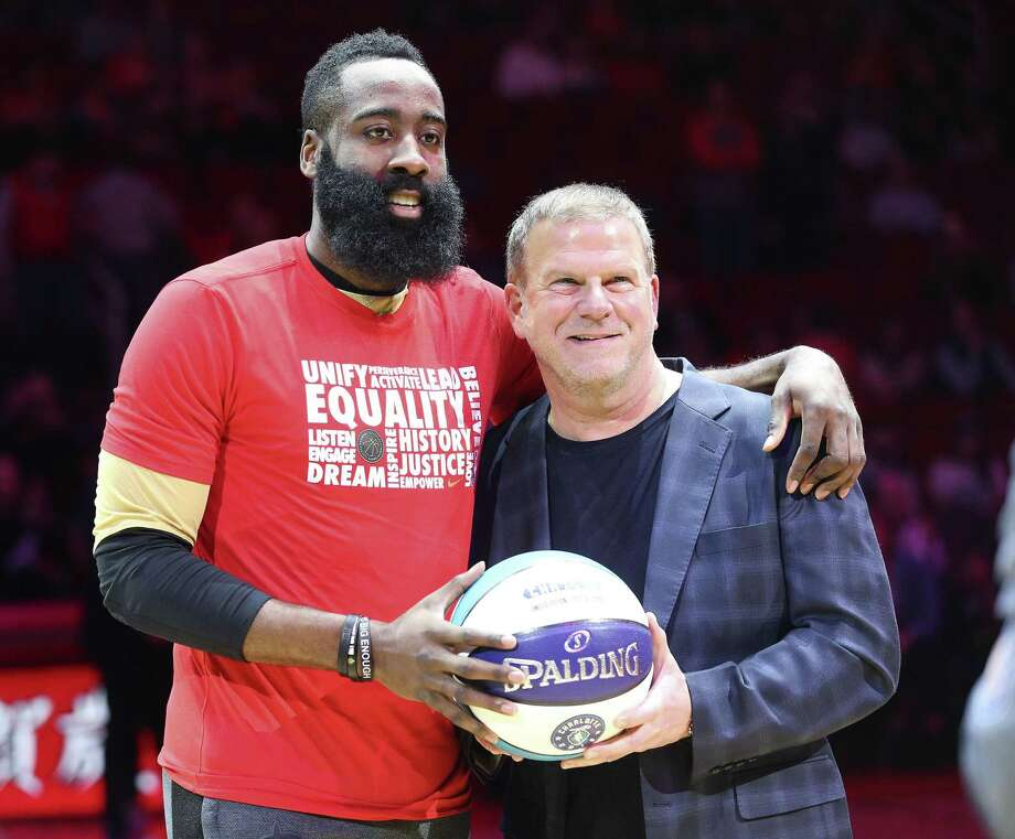 Houston Rockets guard James Harden (13) poses for a photos with owner Tilman Fertitta during the announcement of Harden's NBA All-Star team selection before taking on the Oklahoma City Thunder at the Toyota Center on Friday, Feb. 9, 2018 in Houston. >>>See all the things the Houston mogul owns ... Photo: Elizabeth Conley, Houston Chronicle / Staff Photographer / © 2018 Houston Chronicle