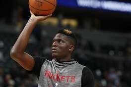 Houston Rockets center Clint Capela (15) in the first half of an NBA basketball game Friday, Feb. 1, 2019, in Denver. (AP Photo/David Zalubowski)