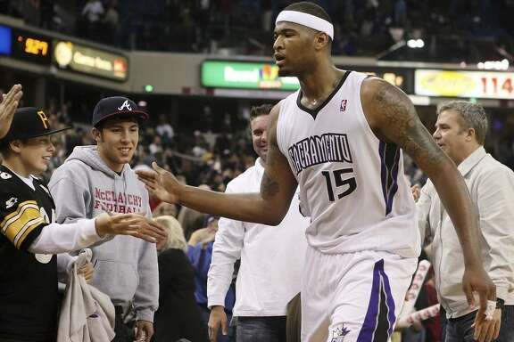 January 29, 2011: #15 DeMarcus Cousins of the Sacramento Kings celebrates and high fives fans after the game vs. the New Orleans Hornets. The Kings beat the Hornets 102-96 at Arco Arena in Sacramento, California.