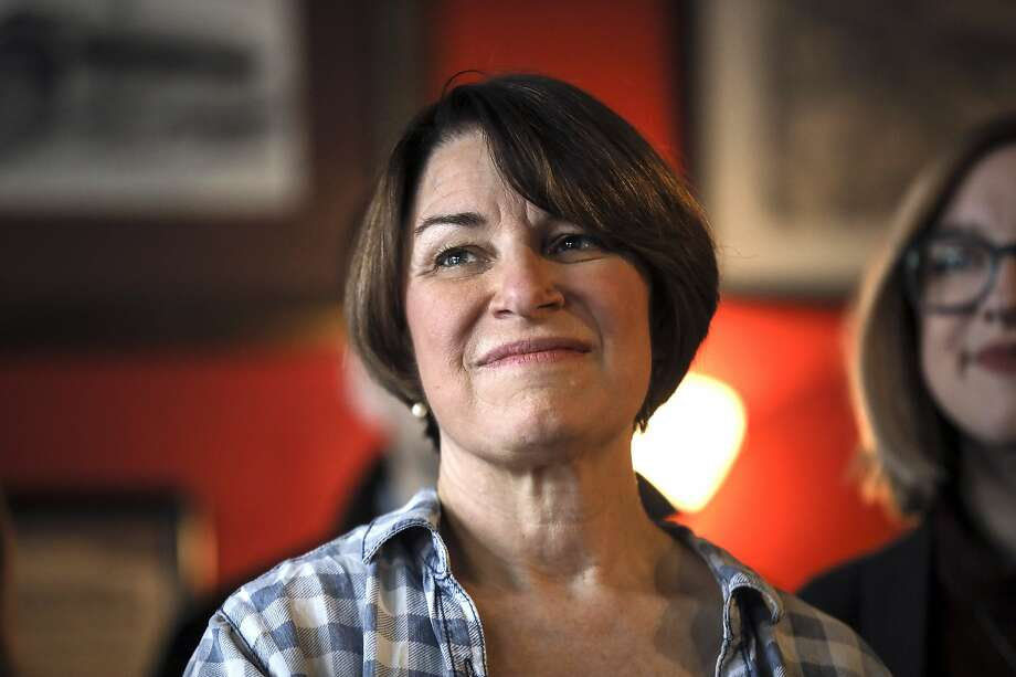 Sen. Amy Klobuchar, D-Minn., listens as she is introduced during a campaign stop at The Village Trestle in Goffstown, N.H., Monday, Feb. 18, 2019. (AP Photo/Cheryl Senter) Photo: Cheryl Senter, Associated Press