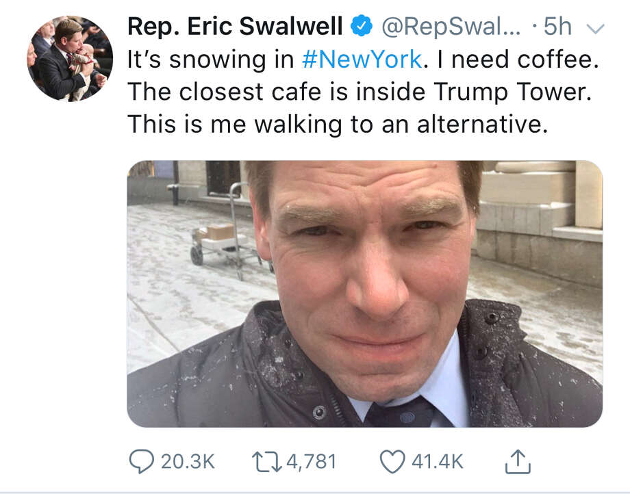 Many jokes were made after Rep. Eric Swalwell announced his decision not to get coffee at the Starbucks in Trump Tower on Wednesday. Photo: Screenshot Via Twitter