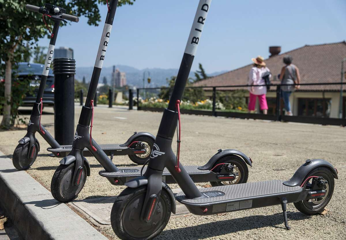 A row of Bird electronic scooters are seen parked near Lake Merritt in Oakland, Calif. Thursday, Aug. 16, 2018. Click through the gallery for a look at social media reactions to the original scooter dump in SF.