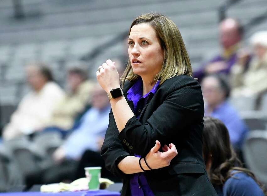 University at Albany head coach Colleen Mullen instructs her players against Stony Brook during the first half of an NCAA college basketball game Wednesday, Feb. 20, 2019, in Albany, N.Y. (Hans Pennink / Special to the Times Union)
