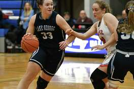 Lake George's Graceann Bennett drives to the basket during a Class C girls' quarterfinal against Maple Hill on Wednesday, Feb. 20, 2019 in Schaghticoke, N.Y. (Lori Van Buren/Times Union)