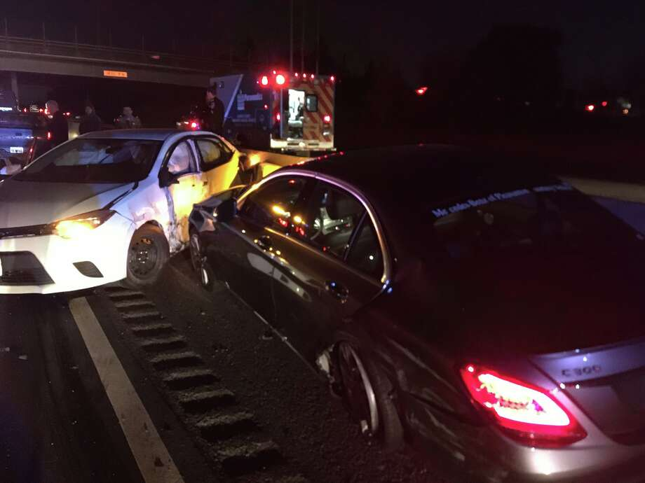 An armed carjacking led to a police pursuit in Hayward Wednesday night, which ended after a five-car collision, police said. Photo: Hayward Police Department