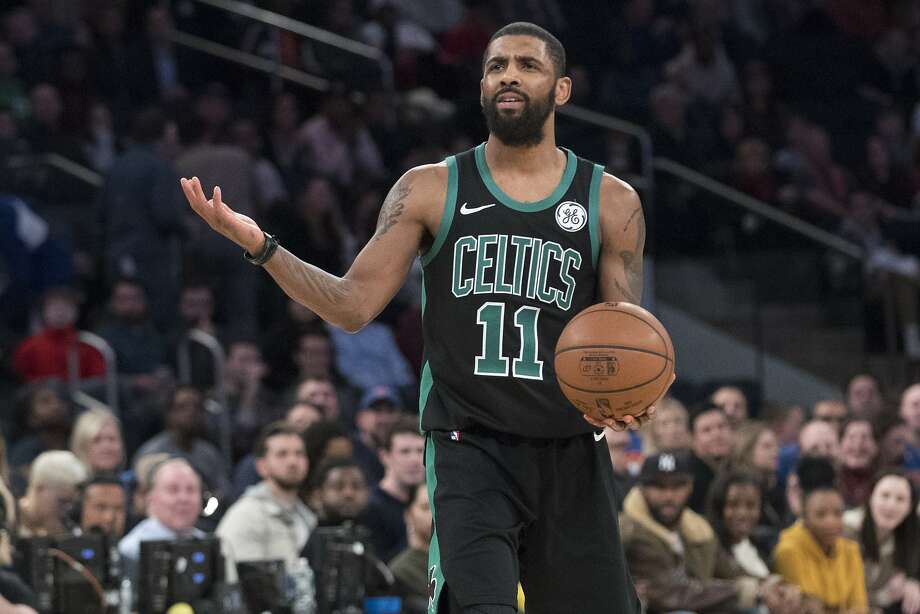 Boston Celtics guard Kyrie Irving reacts during the second half of an NBA basketball game against the New York Knicks, Friday, Feb. 1, 2019, at Madison Square Garden in New York. The Celtics won 113-99. (AP Photo/Mary Altaffer) Photo: Mary Altaffer, Associated Press