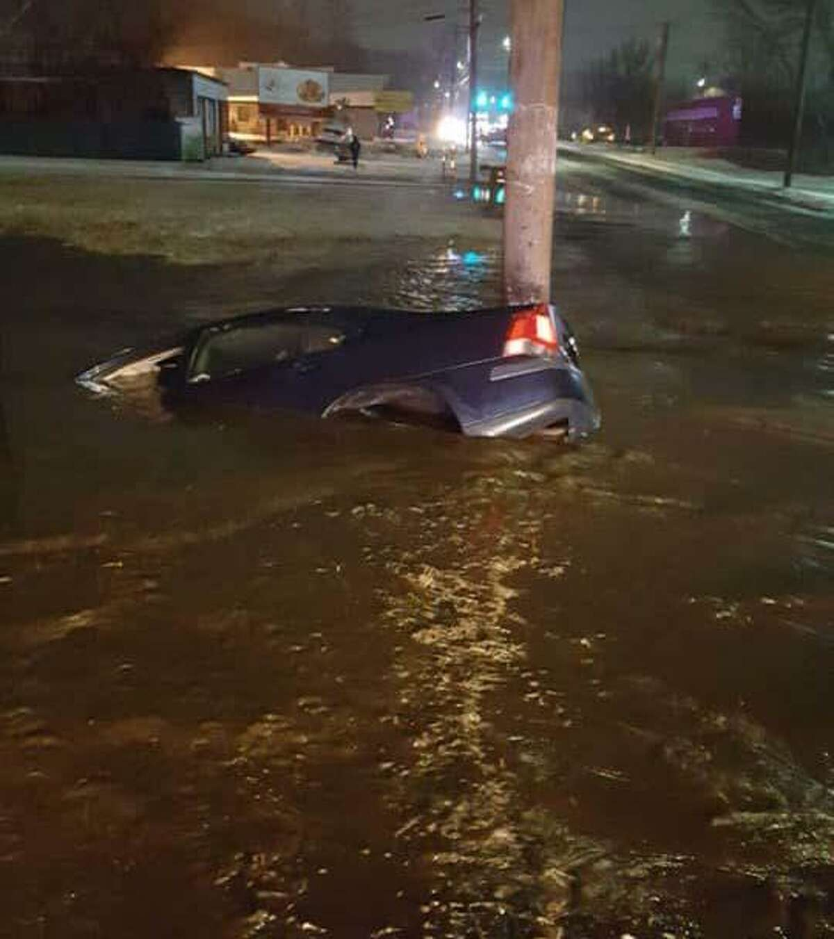 Quinnipiac Avenue in North Haven is still closed due to a car into a fire hydrant accident that occurred Wednesday night on Feb. 20, 2019, police said. The car struck the hydrant at 128 Quinnipiac Ave, at about 8 p.m. immediately causing the road to flood, police said. The car was nearly submerged in a large puddle when responders arrived. The driver did not appear to be injured, police said.