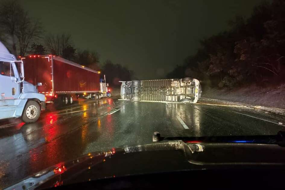 I-91 north in Middletown was shut down on Thursday, Feb. 231, 2019 aftrer a truck rolled over blocking the entire highway. The operator has non-life threatening injuries. The truck was carrying food.