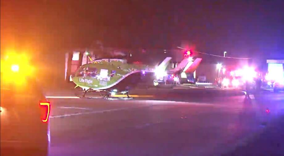 A man was taken by Life Flight to Memorial Hermann hospital after crashing his motorcycle in northwest Harris County late Wednesday. Photo: Metro Video