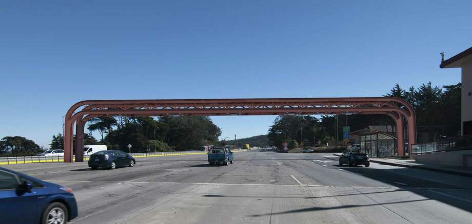 Three possible designs for a new toll gantry at the Golden Gate Bridge incorporate elements of the span. Photo: Golden Gate Bridge, Highway And Transportation District