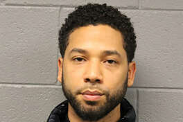 """This February 21, 2019, booking photo released by the Chicago Police Department shows actor Jussie Smollett. - Smollett is to appear in court on February 21 after being arrested and charged with lying to authorities about being the victim of a racist and homophobic attack in Chicago. Smollett, a gay and black actor who stars in the Fox network drama """"Empire,"""" is facing felony criminal charges of disorderly conduct and filing a false police report."""