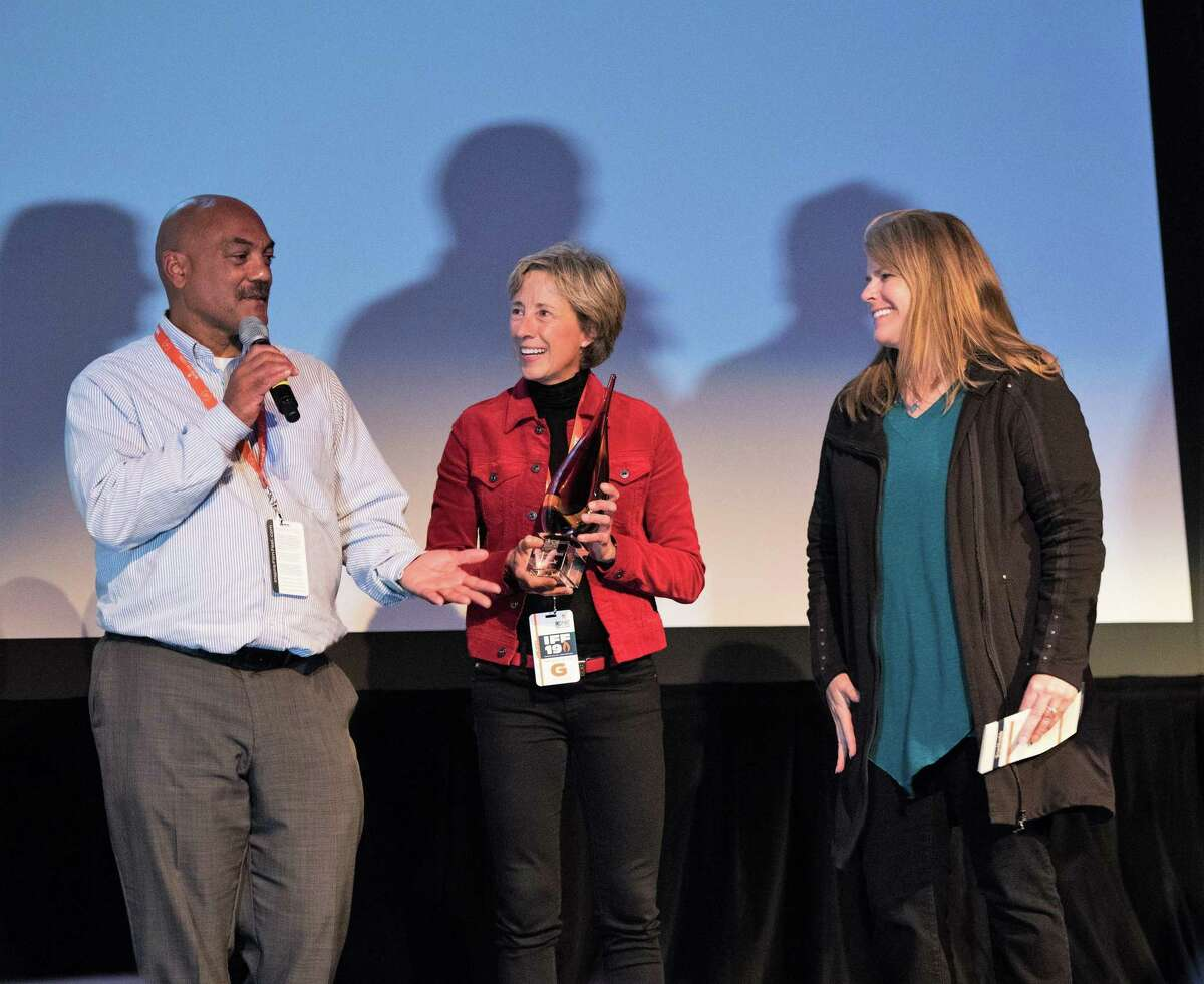 The 2020 Inspire Film Festival kicks off Thursday, Feb. 13, in various locations throughout The Woodlands. In this archive photograph, festival founder Jane Minarovic, right, speaks with several of the 2019 festival honorees.