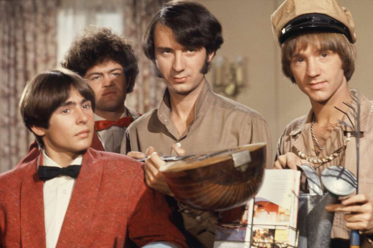 Davy Jones, Mickey Dolenz, Peter Tork and Mike Nesmith on the set of the television show The Monkees in October 1967 in Los Angeles, California. (Photo by Michael Ochs Archives/Getty Images)