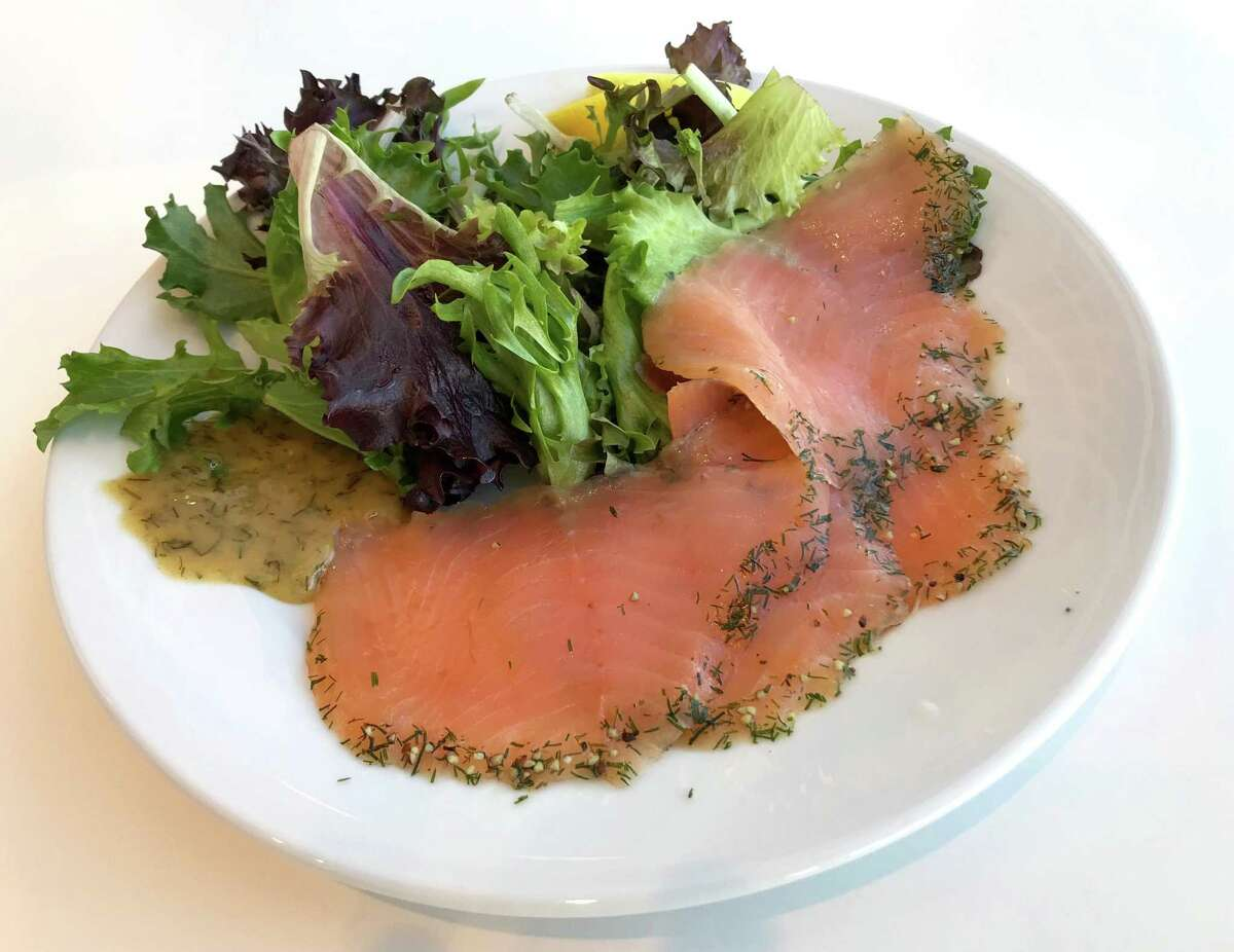 A salad with cured salmon from Ikea