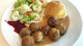 The Swedish meatball plate with mashed potatoes and vegetables from Ikea