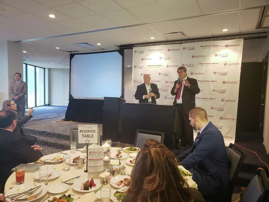 Texas District 8 Congressman Kevin Brady (left) and Greater Houston Partnership's senior vice president of research Patrick Jankowski (right) talk about the U.S, economy and the positive impact it has on Houston's economy at the Economic Outlook Luncheon on Feb. 19, 2019. Photo: Kaila Contreras