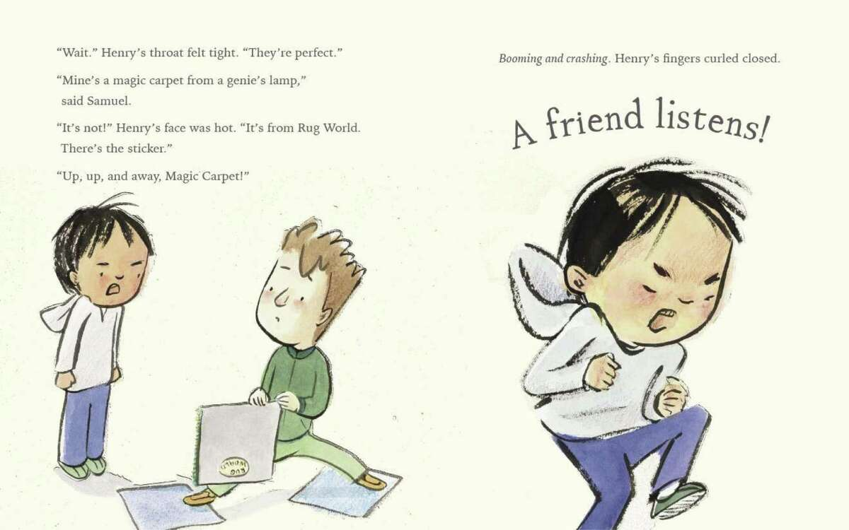 """Henry gets upset when Samuel jumps in the middle of the rug squares in """"A Friend for Henry."""""""