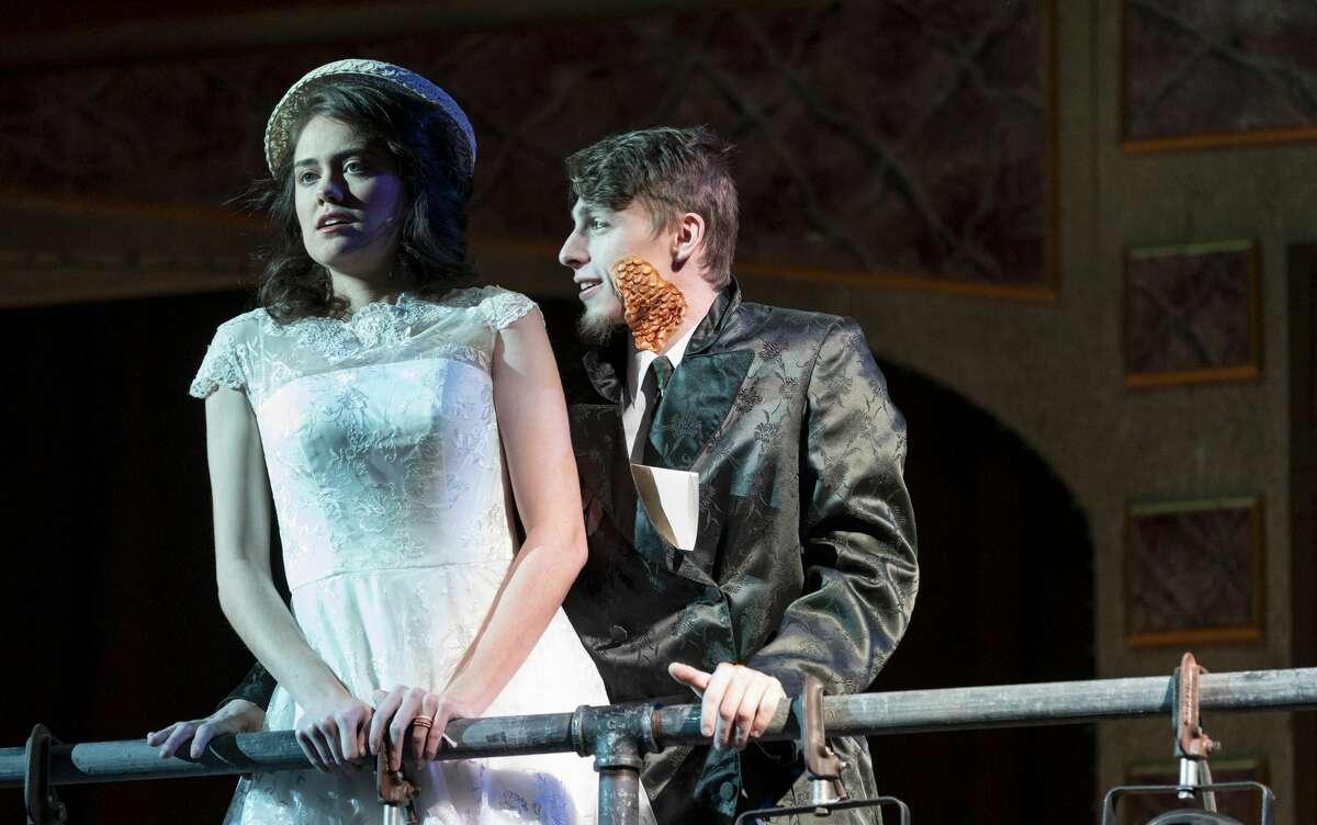 Seneca Mick playing Eurydice is taunted by Brett Hummel playing nasty interesting man. Jacy Lewis/191 News