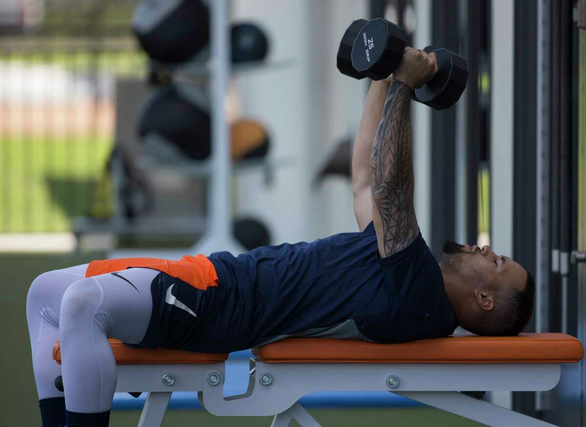 Houston Astros infielder Nick Tanielu (81) works on weight lifting dumbbells after practice at Fitteam Ballpark of The Palm Beaches on Day 8 of spring training on Thursday, Feb. 21, 2019, in West Palm Beach.