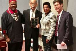 "(L-R): Madison County Board member Michael ""Doc"" Holliday, Alton, Living Legend recipient Wilbert Glasper, County Board member Gussie Glapser, Venice and Chairman Kurt Prenzler."