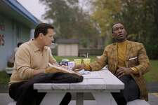 "Viggo Mortensen as Tony Vallelonga and Mahershala Ali as Dr. Donald Shirley in the film ""Green Book."""