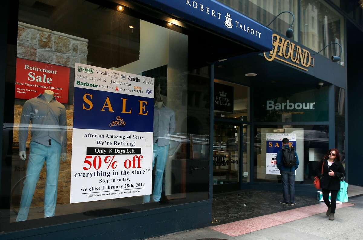Hound Gentlemen's Clothier store is located in the historic Hallidie Building on Sutter Street in San Francisco, Calif. on Wednesday, Feb. 20, 2019. The longtime owners are retiring at the end of the month and may close the shop if they are unable to find a buyer.