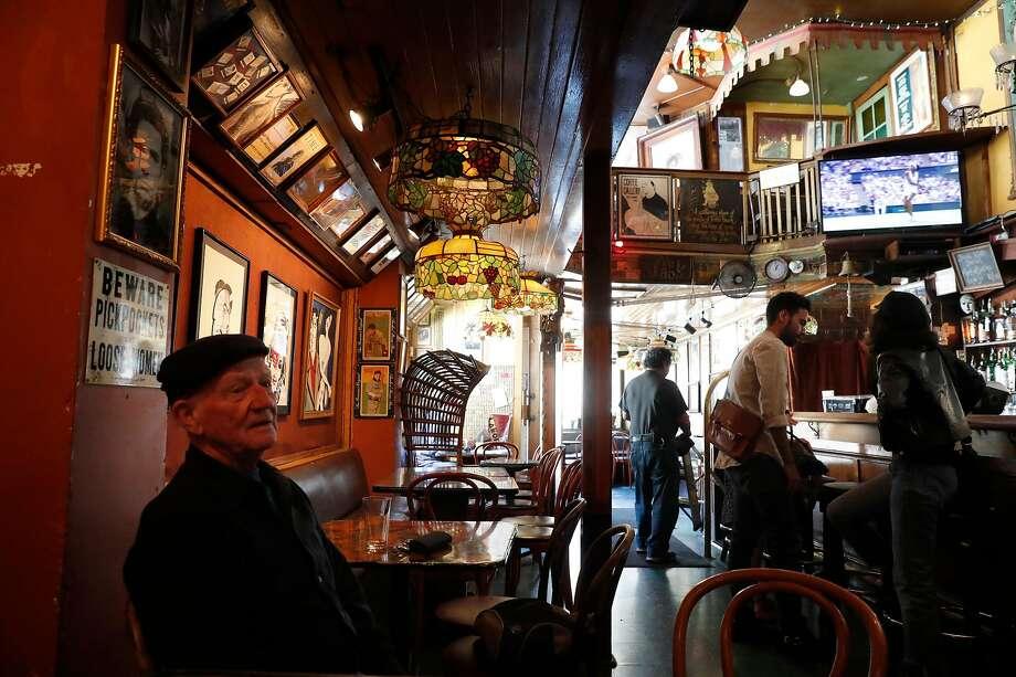 Hugh Linn, enjoys a bevearage at Vesuvio Bar in San Francisco, Ca., as seen on Thursday July 13, 2017. Photo: Michael Macor, The Chronicle