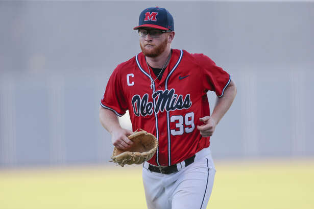 OXFORD, MS - JUNE 03: Mississippi Rebels pitcher Brady Feigl (39) comes off the field after pitching during a game between the Mississippi Rebels and the Tennessee Tech Golden Eagles, on June 3, 2018 at Oxford-University Stadium, Oxford, MS.
