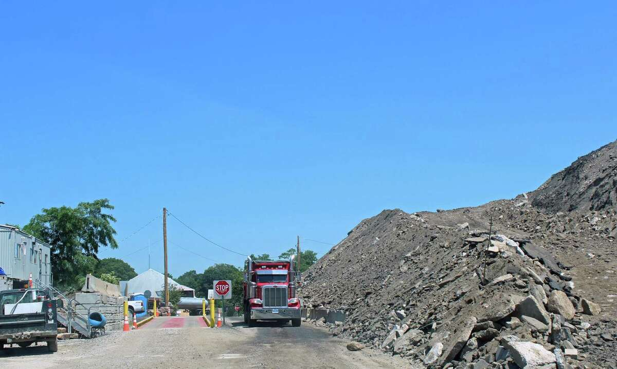 Some residents are unhappy with a large fill pile at the Public Works yard, shown here in 2016. The town is working to reduce its size and install screening.