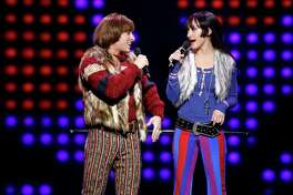 "Jarrod Spector as Sonny Bono and Micaela Diamond as Babe in ""The Cher Show"" on Broadway."