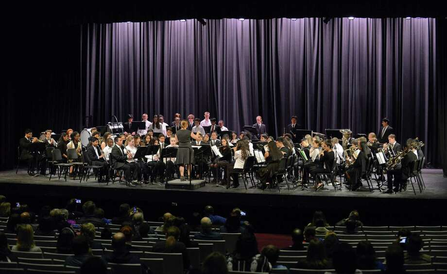 Band members representing Stamford high, Dolan, Rippowam and Rogers International Middle School perform during the Stamford Public Schools All District Band Concert at Westhill High School in Stamford, Conn. on March 29, 2017. On Feb. 26, 2019, the Westhill Concert Band will perform alongside the UConn Wind Ensemble in the first ever collaboration between the two bands. Photo: Matthew Brown / Hearst Connecticut Media / Stamford Advocate