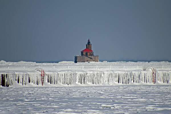 Freezing temperatures and high winds recently created a frozen scene at the Port Austin breakwall and the Reef Lighthouse.