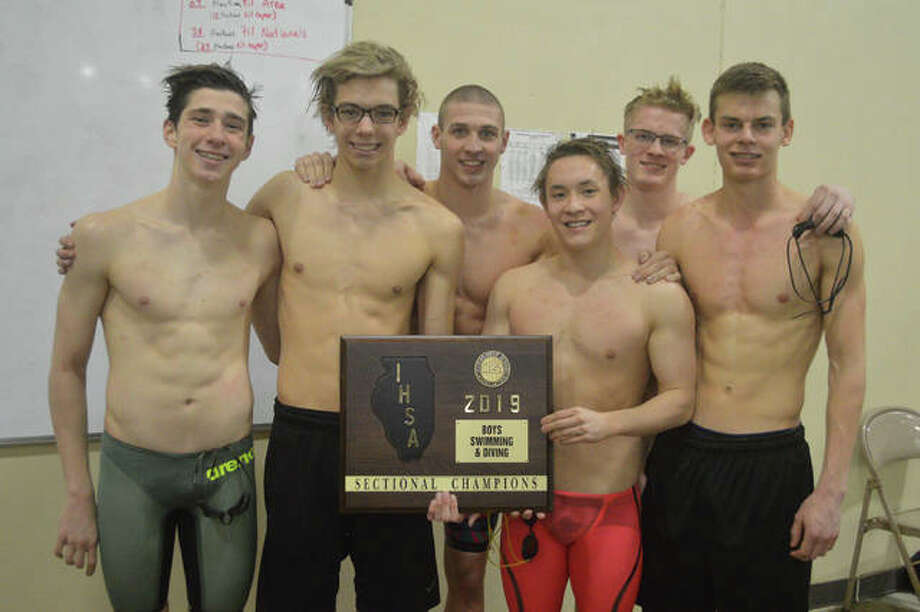 State meet qualifiers from the Edwardville boys' swim team from last Saturday's Edwardsville Sectional at Chuck Fruit Aquatic Center are, left to right, Mathiew Doyle, Logan Mills, Porter LeVasseur, Noah May, McLain Oertle and Matt Mendez. Diver Owen Kaufmann is not pictured. Photo: Scott Marion/Intelligencer