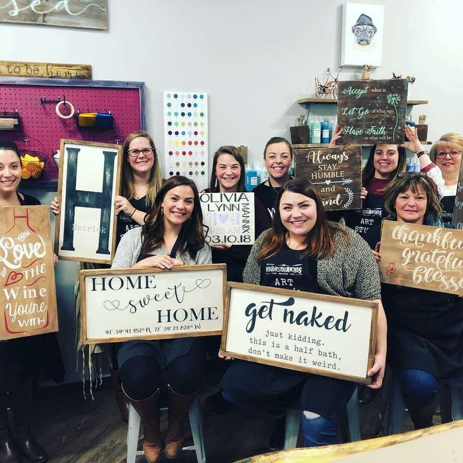 MySignsYourWords Art Studio, recently opened on College Street in Middletown, offers Grab-N-Go Sign Kits, wooden sign-making parties, open studio classes, custom sign private parties, ladies' nights, fundraisers and other events. Photo: Tara Sitilides Photo