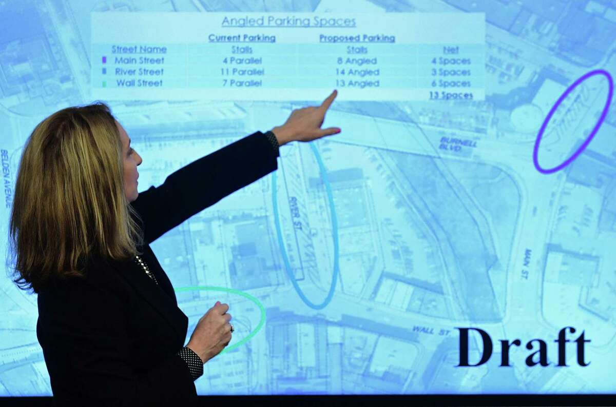 Kathryn Hebert, Director of Transportation Mobility and Parking. speaks during a presentation on Wednesday, February 20, 2019, at Yankee Doodle Garage conference room. Hebert said the Parking Authority plans to update signage and invest in the Wall Street area as a part of its budget.