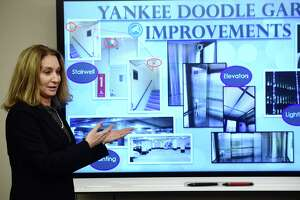 Kathryn Hebert, director of Transportation Mobility and Parking, speaks during her presentation the Norwalk Parking Authority hosted on Feb. 20 at the Yankee Doodle Garage conference room about its plans to add angled parking at Wall Street and several nearby roads in Norwalk, Conn.