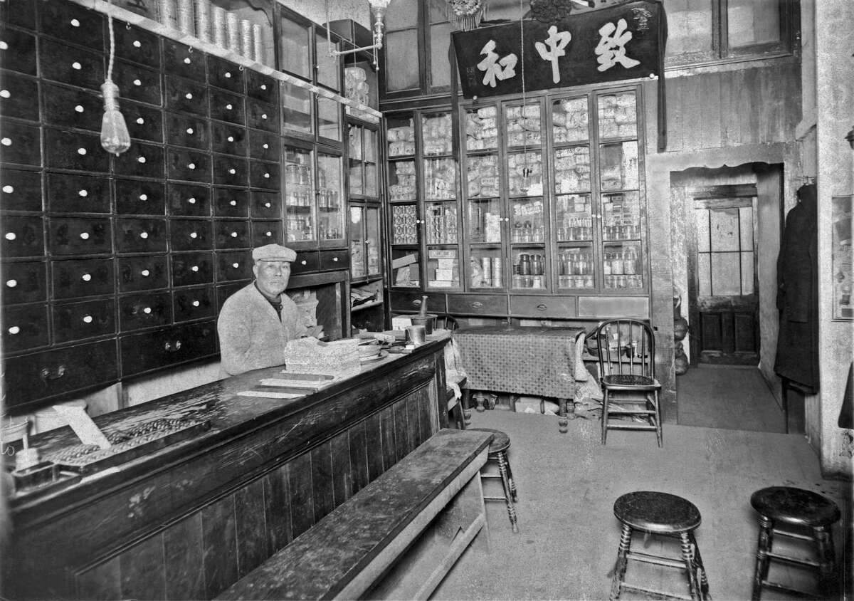 A Chinese apothecary in Chinatown in San Francisco, California, mid 1880s.