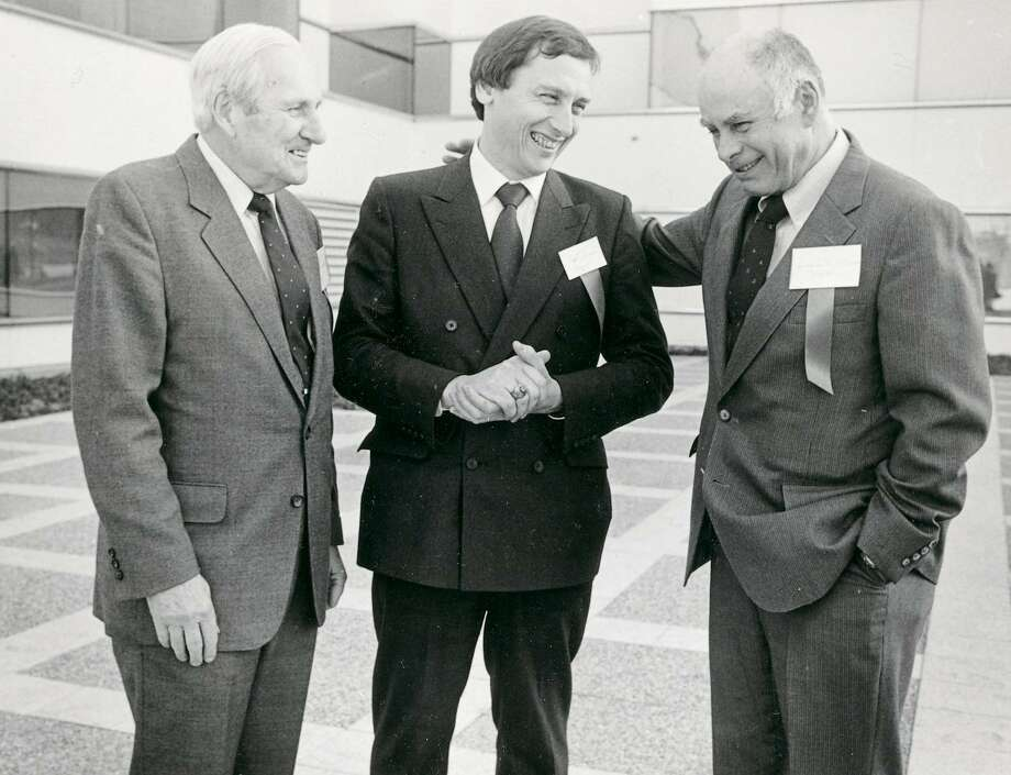 Mayor Thom Serrani talks to former mayors Thomas C. Mayers and Julius M. Wilensky after the dedication of the new town hall in November 1986. Besides Wilensky, who was Jewish, every Stamford mayor has been a white Christian man. Photo: Dru Nadler / ST