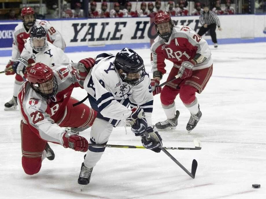 Yale's Robbie DeMontis was named the ECAC player of the week after a goal against Colgate and three assists against Cornell. Photo: Steve Musco / Yale Athletics File Photo / ©2018 - 2019 Steve Musco , All rights reserved