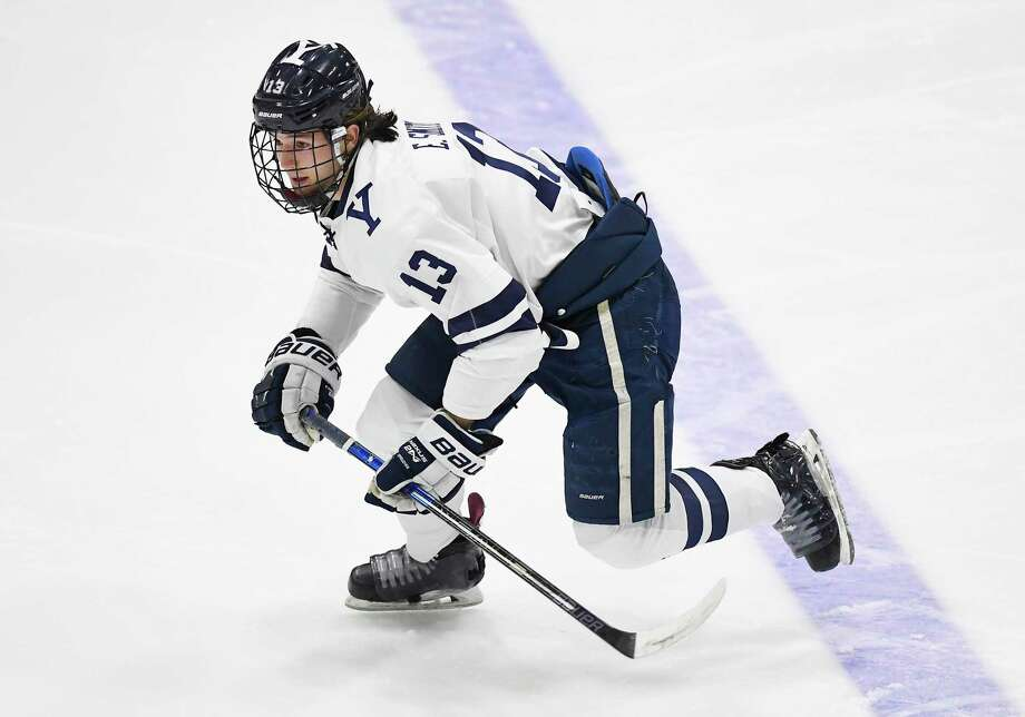 Yale captain Evan Smith hoping to lead Bulldogs into contention for Ivy League and ECAC championships. Photo: Jessica Hill / Associated Press / Copyright 2019 The Associated Press. All rights reserved.