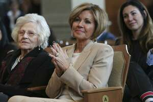 San Antonio City Manager Sheryl Sculley listens as former city council members praise her during her last city council meeting on Feb. 21, 2019. After a 13-year tenure, Sculley will retire at the end of the month. Replacing her is Deputy City Manager Erik Walsh. On the left is her mother, Marilyn Engerski, 87. Her daughter, Courtney Sculley sits behind her.
