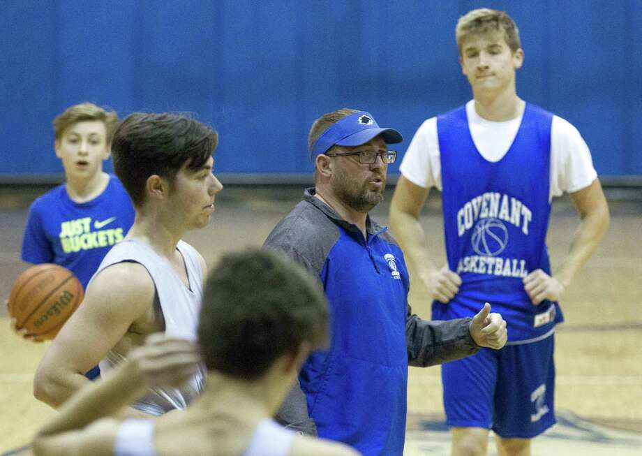 Covenant Christian head coach Jeff Evans gives instructions during basketball practice at Covenant Christian School, Thursday, Feb. 21, 2019, in Conroe. Photo: Jason Fochtman, Houston Chronicle / Staff Photographer / © 2019 Houston Chronicle